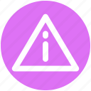 graphics, info, percent, sign, symbols, triangle, warning icon