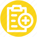 file, page, paper, pencil, plus, sheet icon