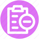 file, minus, page, paper, pencil, sheet icon