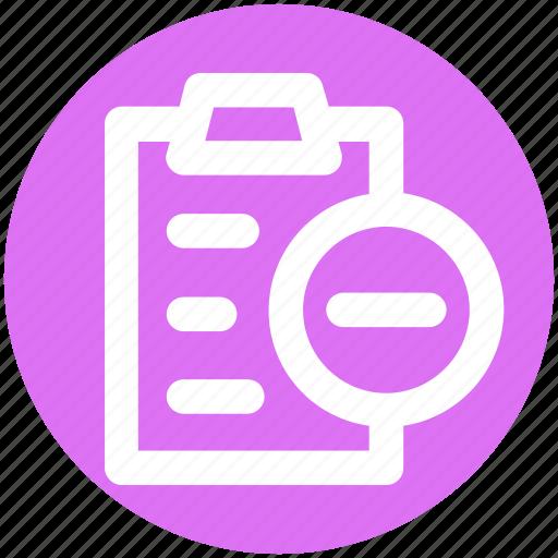 file, minus, page, paper, pencil, sheet icon