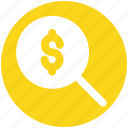 dollar sign, find, magnifier, magnifier glass, search, zoom