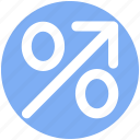 arrow, discount, percentage, percentage sign, percentage up arrow, up icon