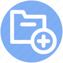archive, computer folder, file folder, folder, plus, saving folder icon