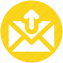 arrow, email, envelope, letter, mail, message, up
