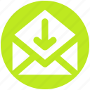 down, email, envelope, letter, mail, message, open envelope icon