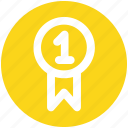 award, award badge, badge, first, first position, prize, ribbon icon