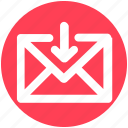 arrow, down, email, envelope, letter, mail, message
