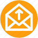 email, envelope, letter, mail, message, open envelope, up icon