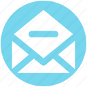 email, envelope, letter, message, minus, open envelope, remove icon