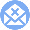 delete, email, envelope, letter, message, open envelope, reject icon