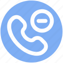 communication, minus, phone, phone receiver, receiver, remove, telephone icon