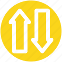 arrow, bottom, down arrow, downloading, top, up arrow, uploading
