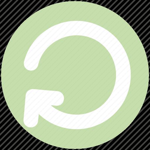 arrow, circle, left, line, loading, rotate, sync icon