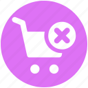 cart, cross, delete, ecommerce, shopping, shopping cart icon