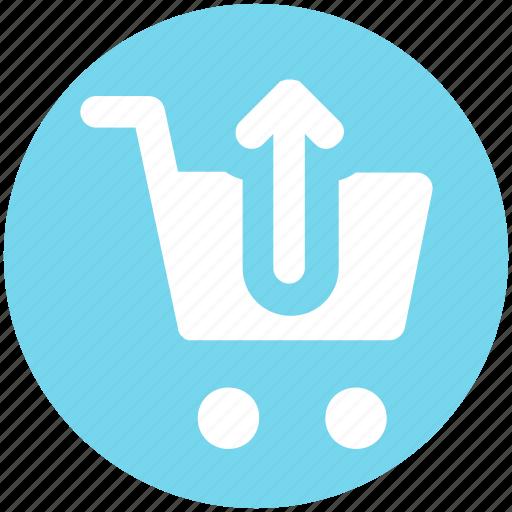 cart, ecommerce, shopping, shopping cart, up, up arrow icon