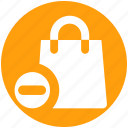 bag, delete, fashion, hand bag, minus, shopping bag icon
