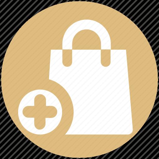 Add, bag, fashion, hand bag, plus, purse, shopping bag icon - Download on Iconfinder