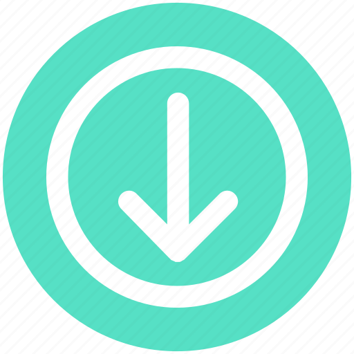 Arrow, circle, down, forward, material icon - Download on Iconfinder