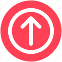 arrow, circle, forward, material, up