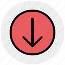 arrow, circle, down, forward, material icon