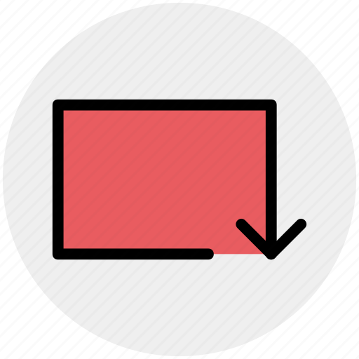 arrow, box, down, line, material, rotate icon