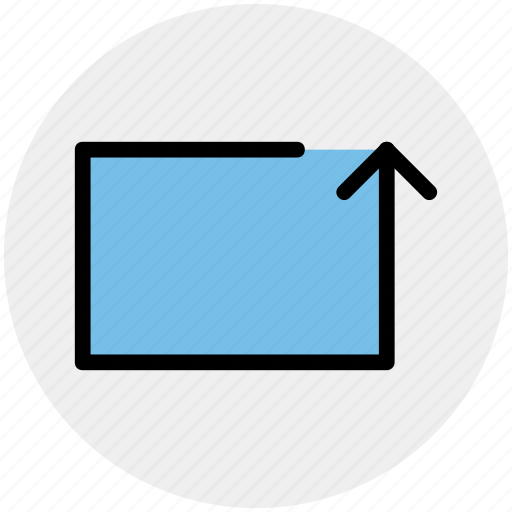 arrow, box, line, material, rotate, up icon