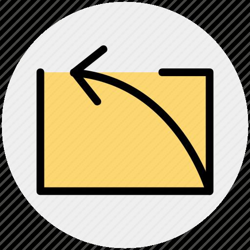 arrow, curve, left, left arrow, up icon