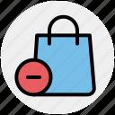 bag, delete, fashion, hand bag, minus, shopping bag