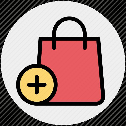 add, bag, fashion, hand bag, plus, purse, shopping bag icon