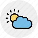 autumn, cloud, cloudy, sun, weather icon