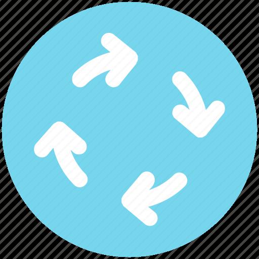 arrows, circle, four, four arrows, motion icon