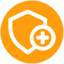 add, secure, security, security sign, shield, sign icon
