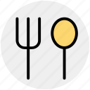 food, fork, fork spoon, lunch, restaurant, spoon icon