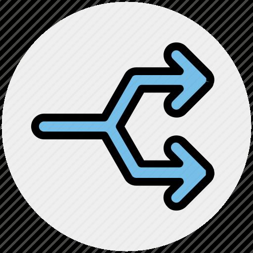 arrow, arrows, direction, line, split icon