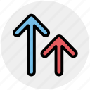 arrows, unloading, up arrows icon