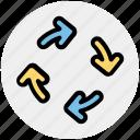 arrows, circle, four, four arrows, motion