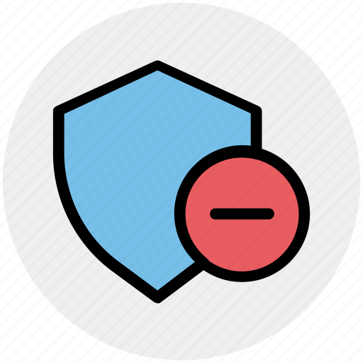 minus, secure, security, security sign, shield, sign icon