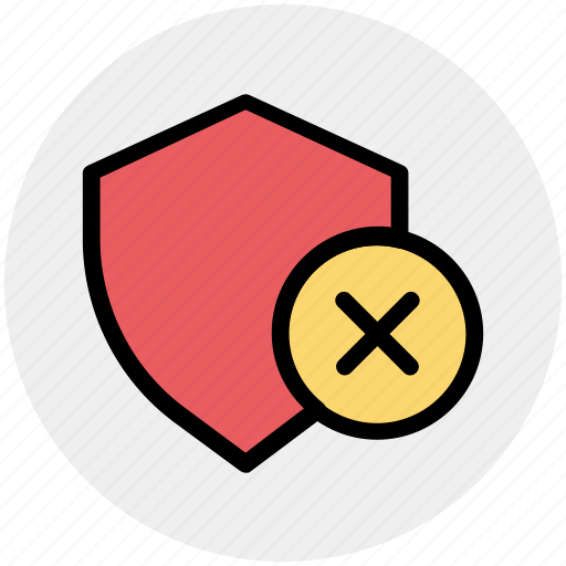 reject, secure, security, security sign, shield, sign icon
