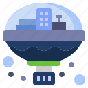 architecture, city, colony, miscellaneous, space, spaceship, transportation icon
