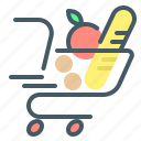 ecommerce, shopping, cart, trolley, food