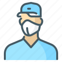 worker, uniform, mask, person