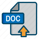 doc, document, file, upload, word icon