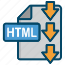 document, download, file, html icon