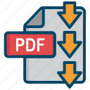 document, dowload, file, pdf icon