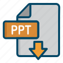 document, download, file, point, power, powerpoint, ppt icon