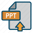 document, file, point, power, powerpoint, ppt, upload icon