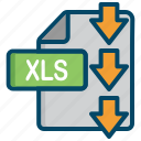 document, dowload, excel, file, xls icon