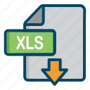 document, download, excel, file, xls icon