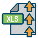 document, excel, file, upload, xls icon
