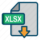 document, download, excel, file, xlsx icon